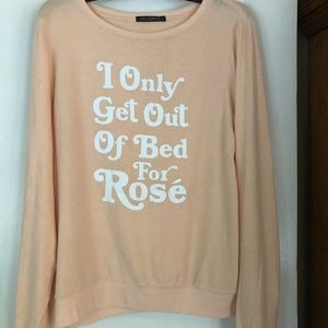 Wildfox I only get out of bed for Rosé sweater M